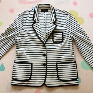Nine West black & white striped lightweight blazer